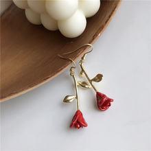 Серьги в форме цветка розы серьги сердца для девушек стиле знаменитостей