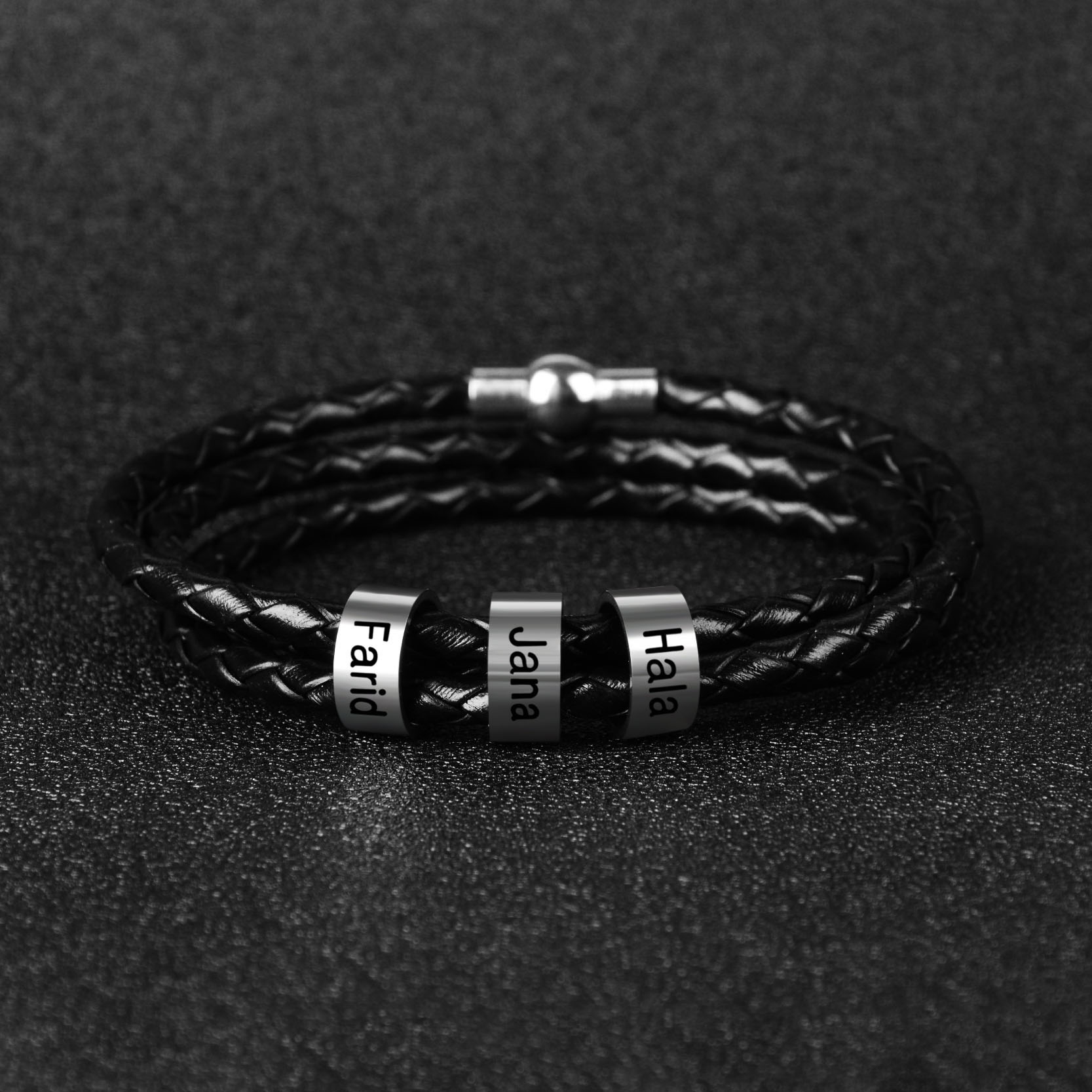 Father's Day Gift Men Braided Leather Bracelet with Small Custom Beads in Silver