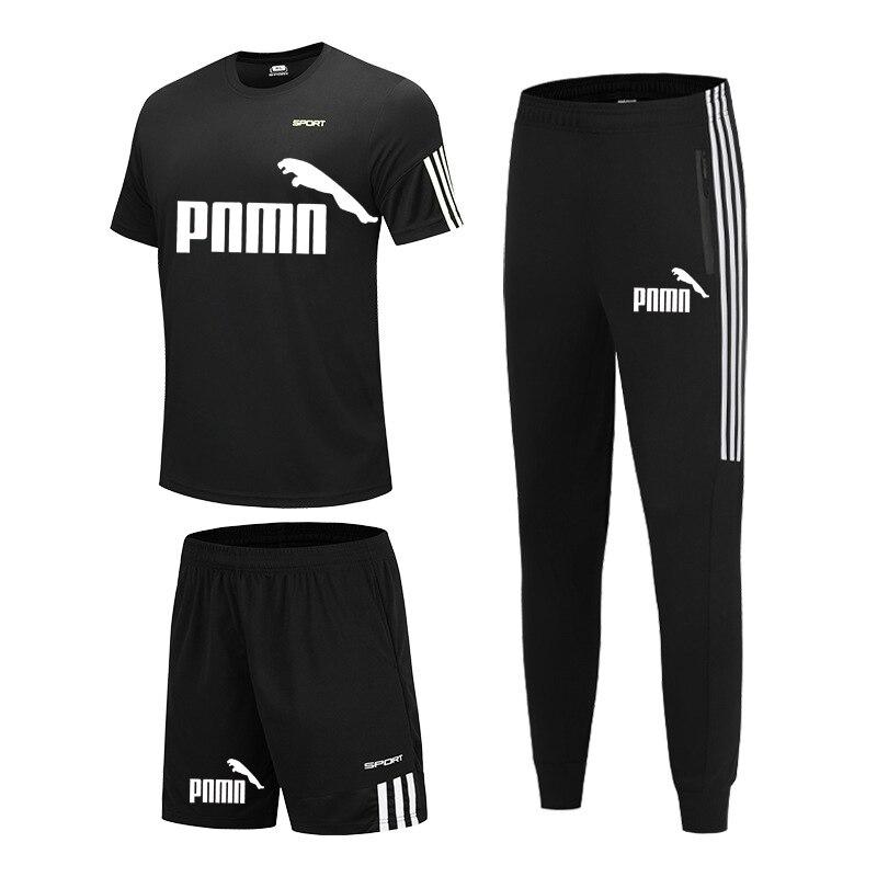 running - 3 Pieces / Set Sports T-shirt Men's Suit Casual Sports Shorts + Jogging Pants Men's Sportswear Suit Football Suit Gym Suit New