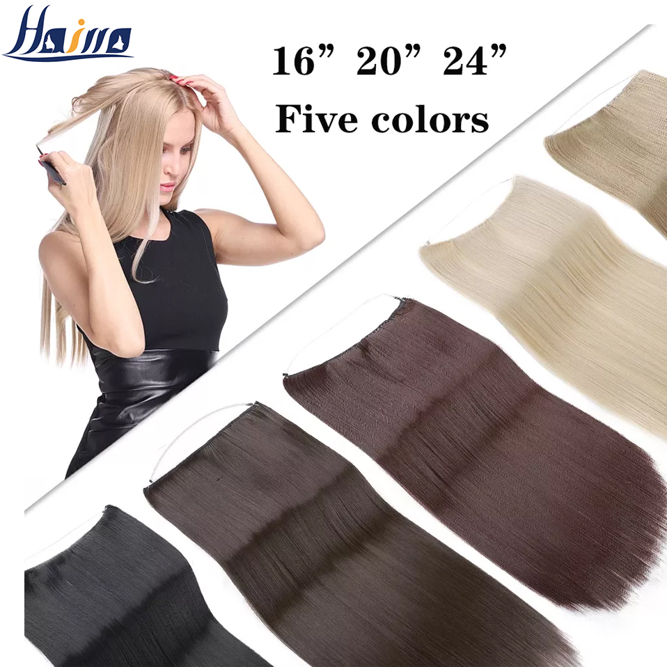 HAIRRO No Clip Wave Hair Extensions Pure Color Synthetic Natural Black Blonde One Piece False Hairpiece Fish Line Fake Hair