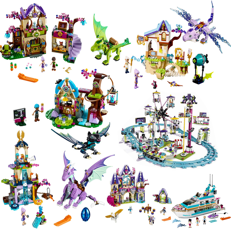 Elves Girls Friend Figures Series Tree House Castle Animals Pet Elf Building Blocks City Amusement Park Kid Toys For Fille Gifts(China)