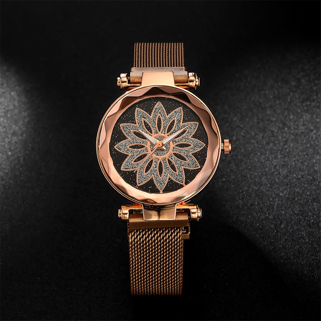 Women Watches For Fashion Elegant Magnet Floral Print Starry Sky Buckle Luxury Ladies Wristwatch Quartz Clock Montre Femme #W