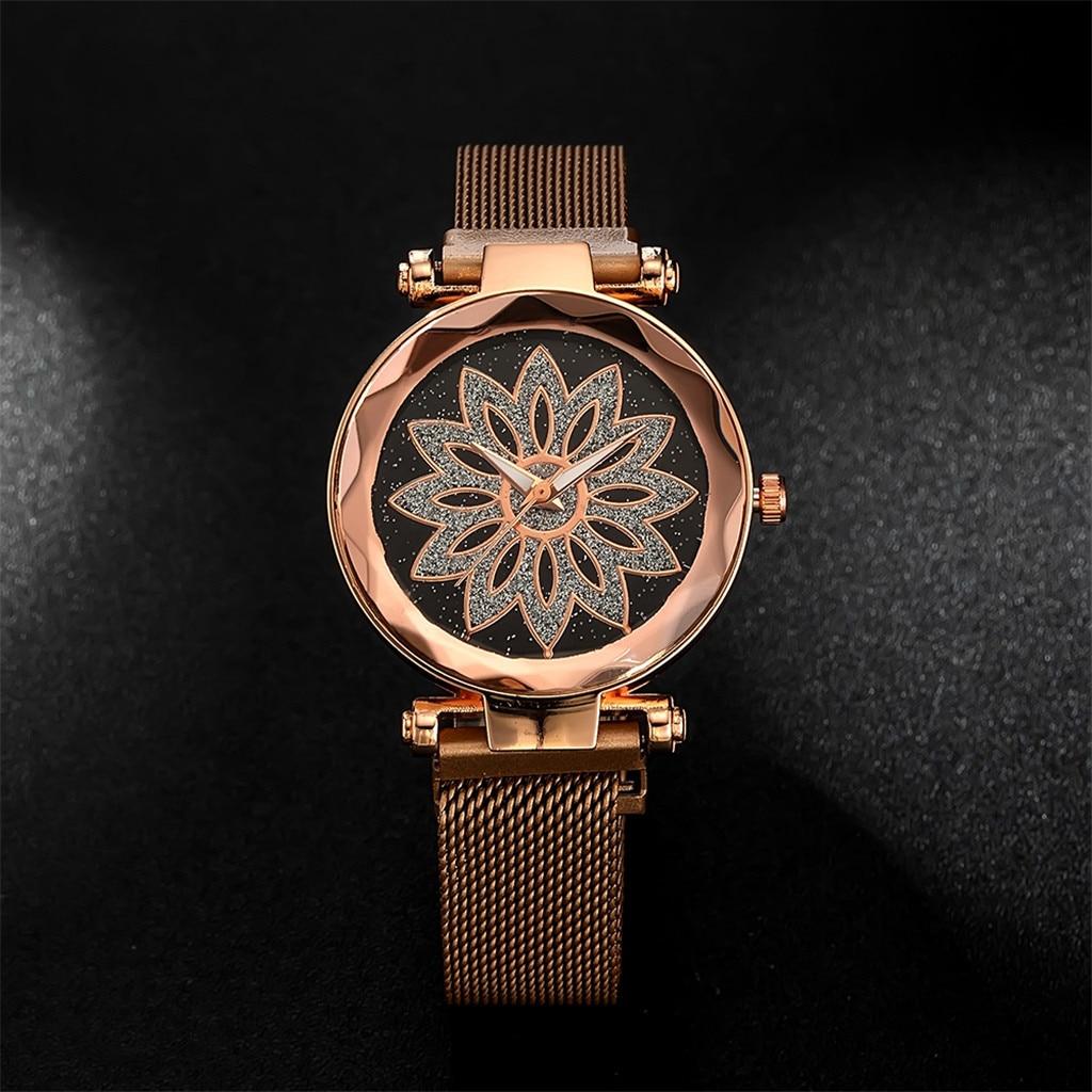 Women Watches For Fashion Elegant Magnet Floral Print Starry Sky Buckle Luxury Ladies Wristwatch Quartz Clock Montre Femme #W