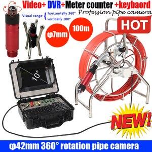 100 m dvr dreno de esgoto câmera com 360 rotaion ptz câmera de inspeção endoscópio com contador medidor com teclado gravador