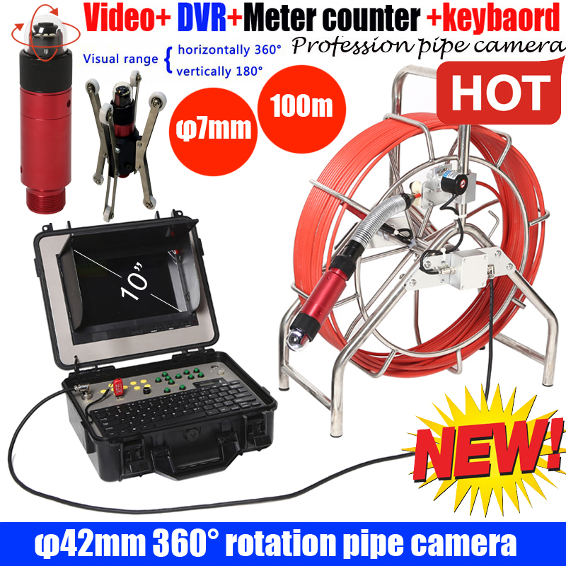 100M DVR Sewer Drain camera with 360 rotaion ptz camera endoscope inspection camera with meter counter with keyboard recorder