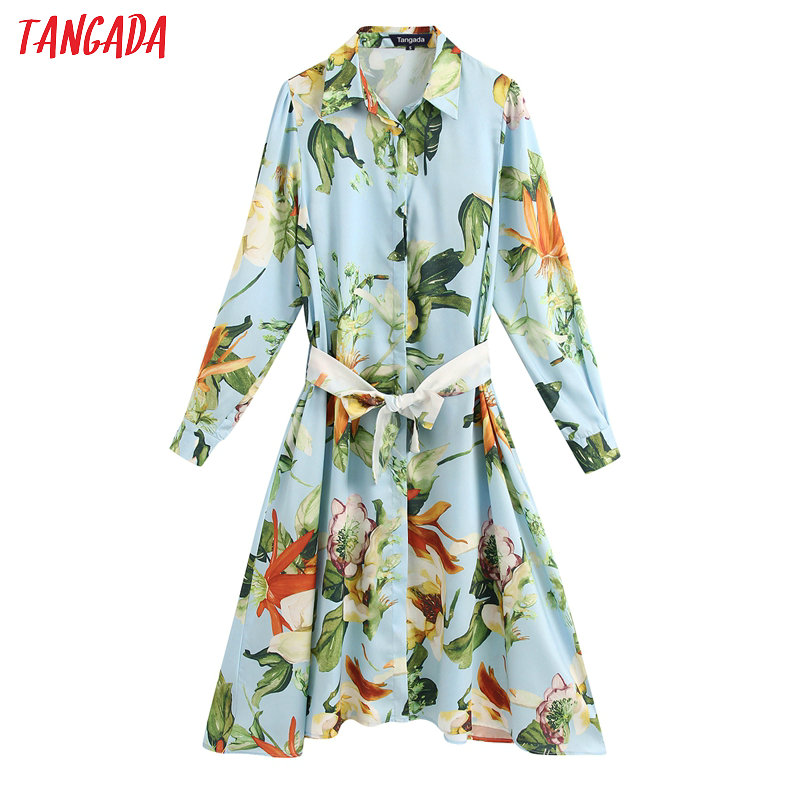 Tangada Fashion Women Flowers Print Blue Dress With Belt 2020 Fashion Long Sleeve Ladies Midi Dress Vestidos BE157