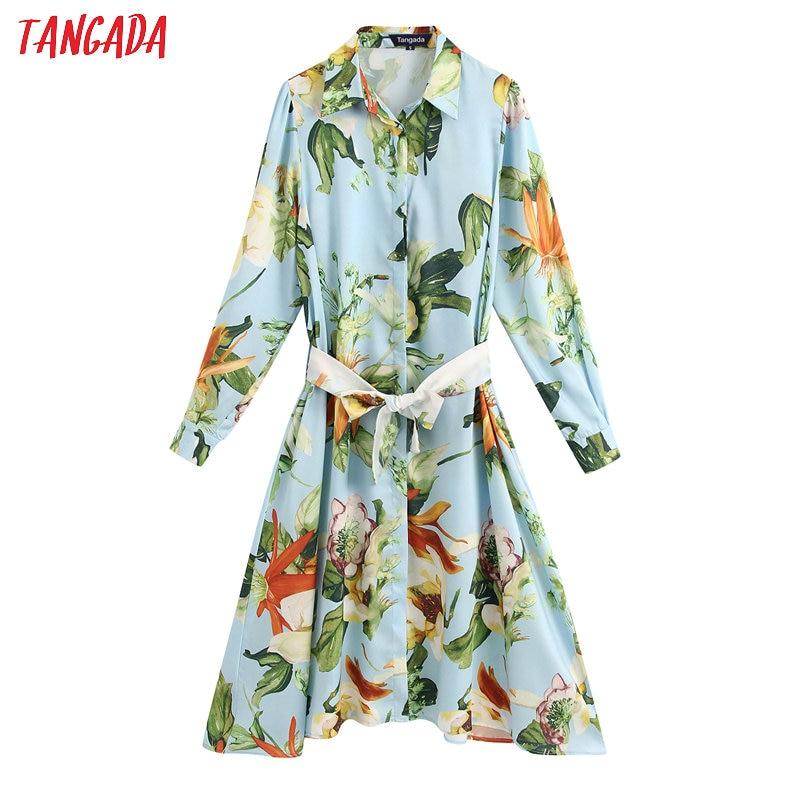 Tangada Fashion Women Flowers Print Blue Dress With Belt 2020 Fashion Long Sleeve Ladies Midi Dress Vestidos BE157