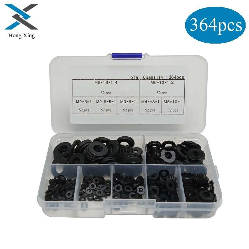 m2,m2.5,m3,m4,m5,m6,m8 Screw//Bolt 250Pcs//Lot Nylon Flat Washer Assortment Kit