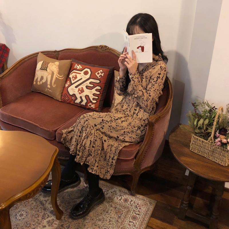 Ha066b2e9e66845159a978f9f1a0510b3U - Autumn Korean V-Neck Long Sleeves Chiffon Floral Print Midi Dress