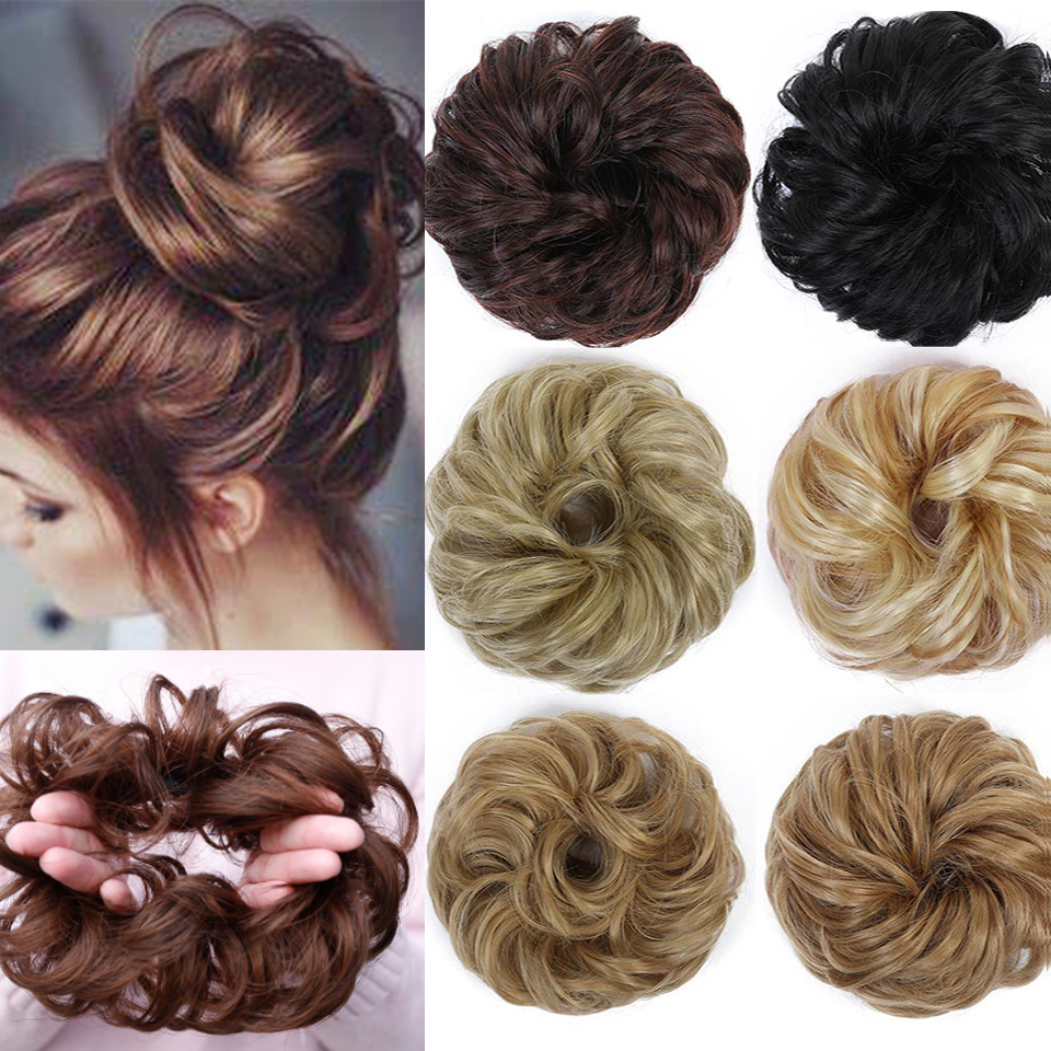 DIFEI Curly Messy Chignon For Women Heat Resistant Synthetic   Rubber Band Hair Buns Donut Hair Extensions Wrap On Ponytail