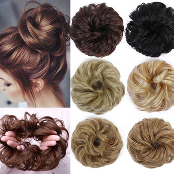DIFEI Curly Messy Chignon for Women Heat Resistant Synthetic   Rubber Band Hair Buns Donut Hair Extensions Wrap On Ponytail charming shaggy tacos curly fashion highlight heat resistant synthetic long ponytail for women