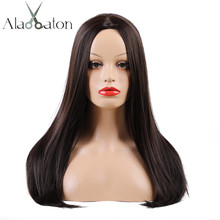 ALAN EATON Long Straight Synthetic Wigs 22 Inch Heat Resistant Middle P