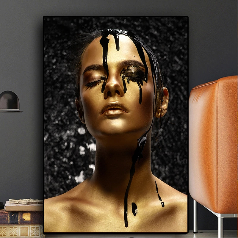 Canvas HD Prints Posters Nordic Black Gold Nude African Art Sexy Woman Painting Wall Home Decoration Modular Pictures Cuadros in Painting Calligraphy from Home Garden