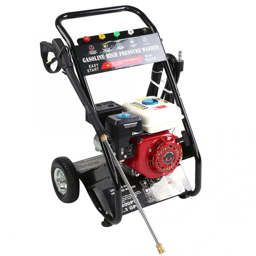 180bar 6.5PH Petrol High Pressure Washer Machine 196cc Gasoline Clean Equipment Low Oil Protection For Terraces Lanes Sidewalk