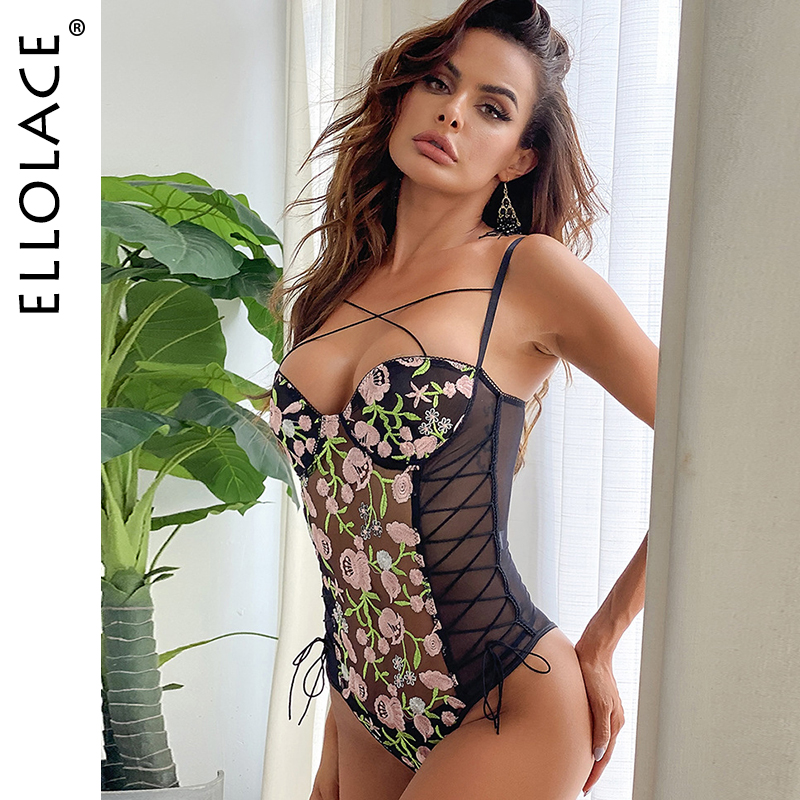 Ellolace Embroidery Flower Bodysuit Women Lace Transparent Bodys Sleeveless Bandage Bodys Female Fitness Rompers 2020 Wholesale