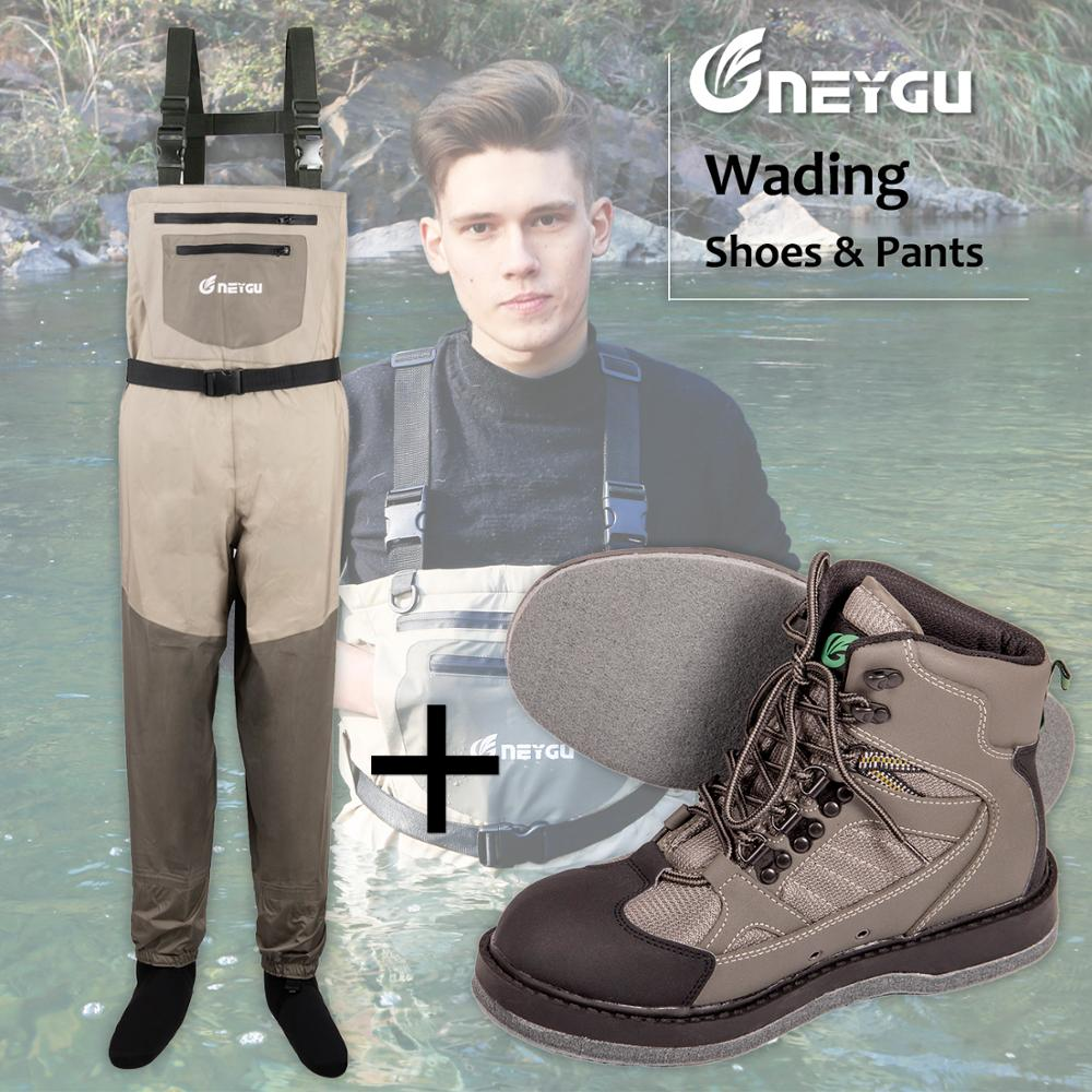 NEYGU Waterproof & Breathable fishing chest waders and Felt Sole Waing boots for fishing, hunting and outdoor sports