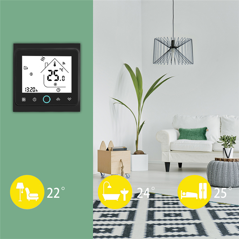 2 Pipe WiFi Smart Central Air Conditioner Thermostat Temperature Controller 3 Speed Fan Coil Unit Work with Alexa Google Home (2 4
