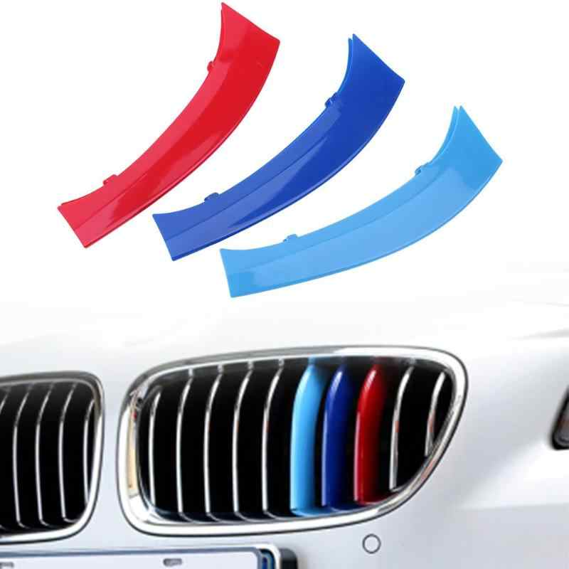 Tri-Color Car Racing Grille Insert Trims Front Kidney Grill Strips for BMW X3 F25 F26 Auto Decoration Accessories