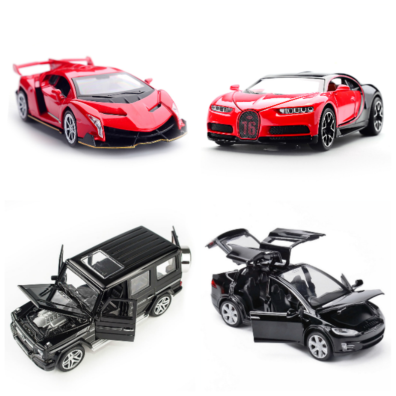 1:32 1:24 Alloy Pull Back Model Car Series Model Toy Car For G65 LX570 S600 Tesla Bugatti LP750 Car Model Series Collection Toys