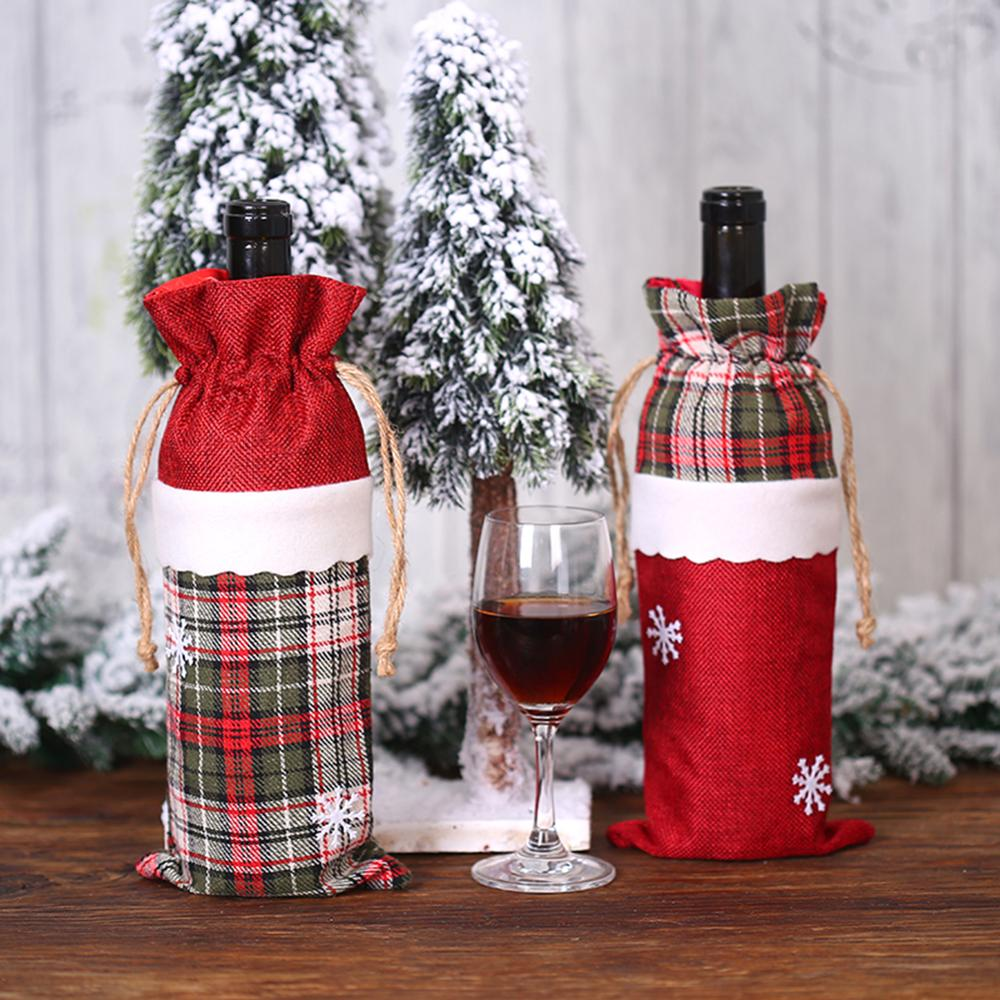 Cute Christmas Snowflake Linen Red Wine Bottle Cover Bags Xmas Table Decor Christmas Decorations For Home Holders Xmas New Year