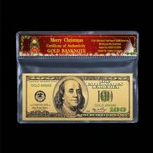Античная долларовая Золотая банкнота 100 доллар старинные банкноты 24k позолоченный Рождественская пластиковая декоративная фоторамка бумага подарочная, 2 предмета/комплект одежды для детей