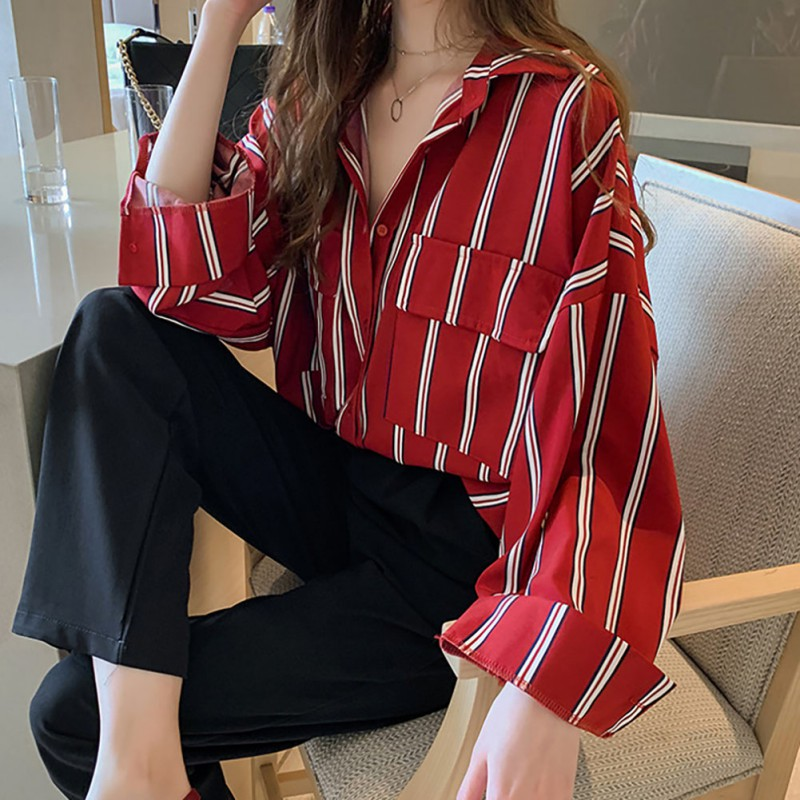 Women Striped Long Sleeve Blouse Shirt Autumn Loose Pockets Shirts Casual Office Lady Blouses Tops