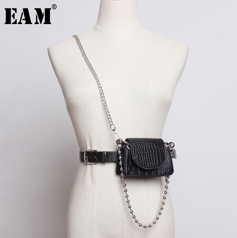 [EAM]  Pu Leather Chain Split Mini-bag Long Belt Personality Women New Fashion Tide All-match Spring Autumn 2020 19A-a287
