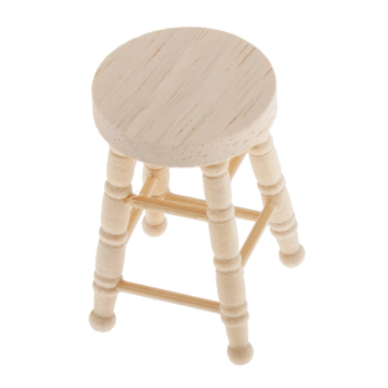 1/12 Dollhouse Miniature Kitchen Dining Round Stool Wooden Footstool Barstool image