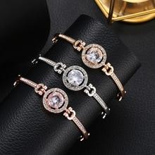 Fashion Classic Women's Bracelet Round Large Rhinestone Bracelet Noble Gold Silver Flash  Bracelet Women's Jewelry Gift 50 3color flash bracelet with box