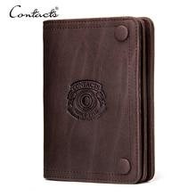 CONTACT'S марочный Мужской брендовый бумажник из натуральной кожи с отделениями для денег карман для монет на молнии