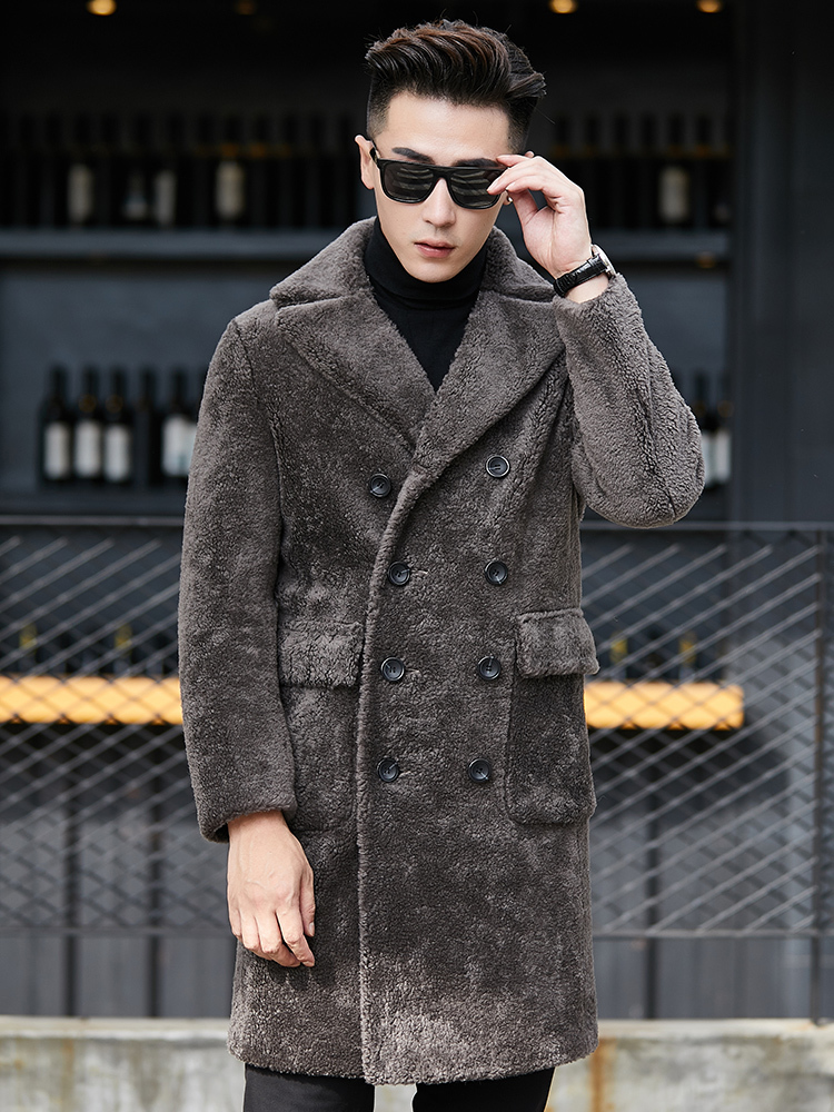 Real Fur Coat Men Korean Sheep Shearing Wool Coat Suede Leather Jacket Man Double-sided Wear Long Jacket YC1991 KJ1265