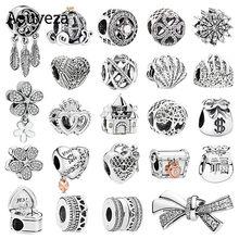 Novo saco de sorte saco de dinheiro sonho apanhador abóbora carro diy contas se encaixa original pandora charme prata 925 pulseiras feminino jóias