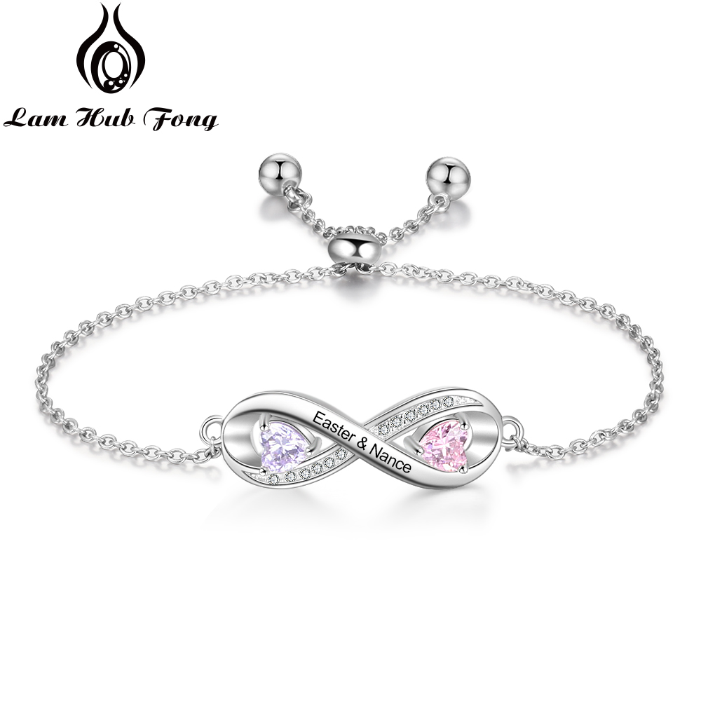 Personalized Infinity Bracelet Custom Name Bracelet DIY Birthstone Cubic Zirconia Jewelry Wedding Gift For Women  (Lam Hub Fong)