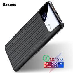 Baseus carga rápida 3.0 10000 mah power bank lcd 10000 mah qc3.0 rápido powerbank portátil carregador de bateria externa para xiao mi 9