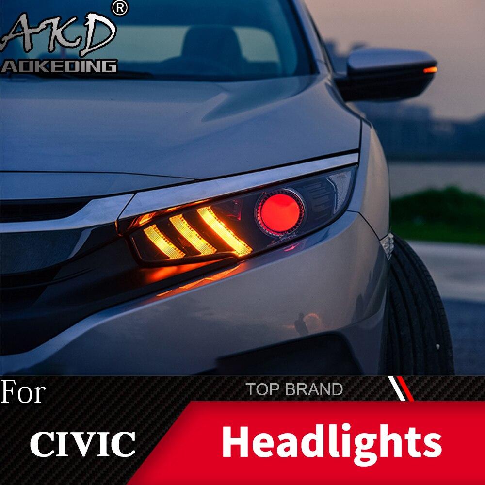 Phare pour Honda CIVIC X G10 2015-2019 phares antibrouillard feux de jour DRL H7 LED Bi xénon ampoule voiture accessoires