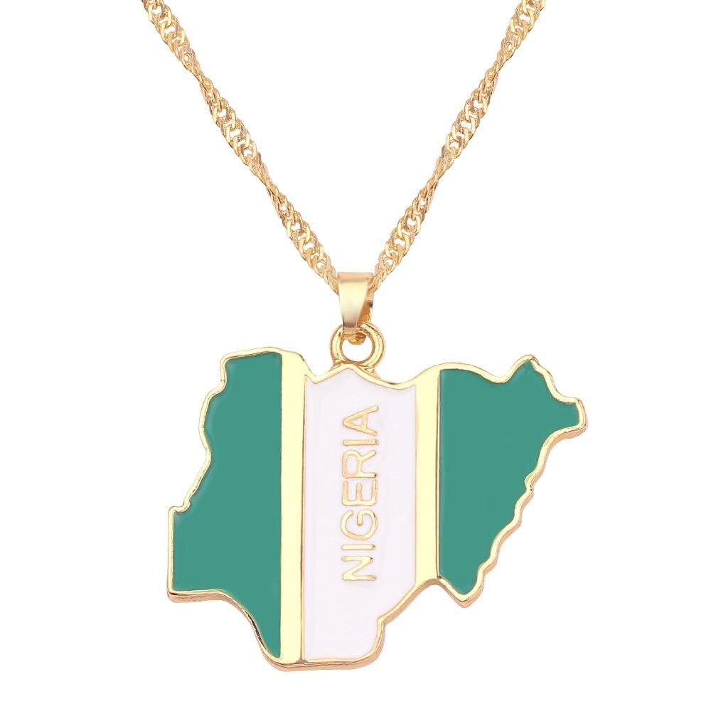 Новая карта страны, флаг, ожерелье, Африка, Гана, Liberia Undersea, Jamaica, Южная Африка, Congo, Honduras, подвеска, цепь, мужские ювелирные изделия - Окраска металла: Nigeria