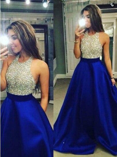 BacklakeGirls New Arrival Royal Blue Contrast Color Floor Length Halter Sequined Satin   Evening     Dress   Vestido Largo De Noche