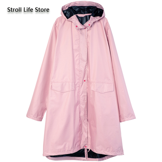 Pink Long Raincoat Women Jacket Hiking Travel Yellow Blocking Sunscreen Rain Coat Waterproof Rain Poncho Windbreaker Impermeable 4