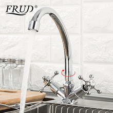 FRUD Hot Sale Kitchen Faucet Deck Mounted Dual Handle 360 Degree & Cold Water Sink Accessories Mixer robinet cuisine R40108