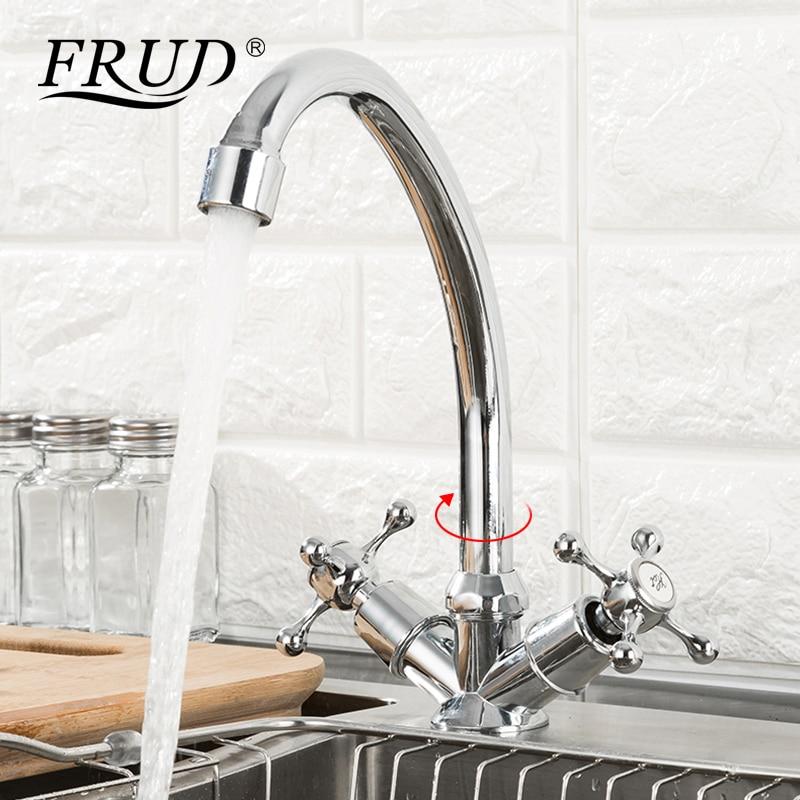 FRUD offre spéciale robinet de cuisine pont monté double poignée 360 degrés eau chaude et froide évier accessoires mélangeur robinet cuisine R40108