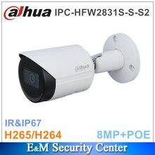 Original dahua 8MP IPC HFW2831S S S2 8MP POE CCTV Lite IR Fixed focal Bullet Network Camera