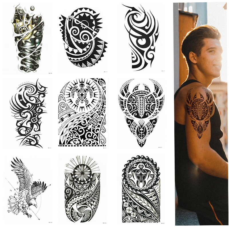 TRIBAL TEMPORARY TATTOO SLEEVE, ARM, SAMOAN, MAORI, MENS, WOMENS, WATERPROOF