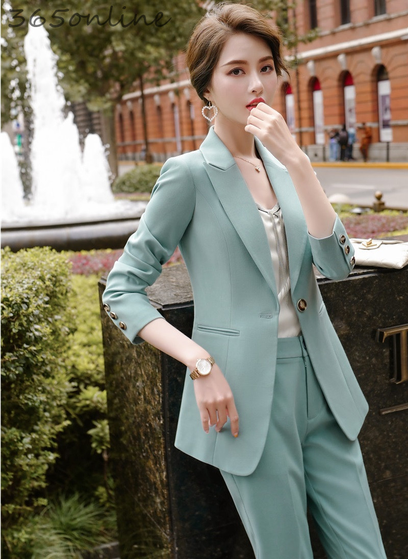 Novelty Green 2020 Spring Autumn Formal Women Business Suits With Pants And Jackets Coat For Ladies Professional Blazers Set