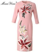 MoaaYina Fashion Designer Runway dress Spring Autumn Women Dress lily Embroidery Sequin Slim Elegant Dresses