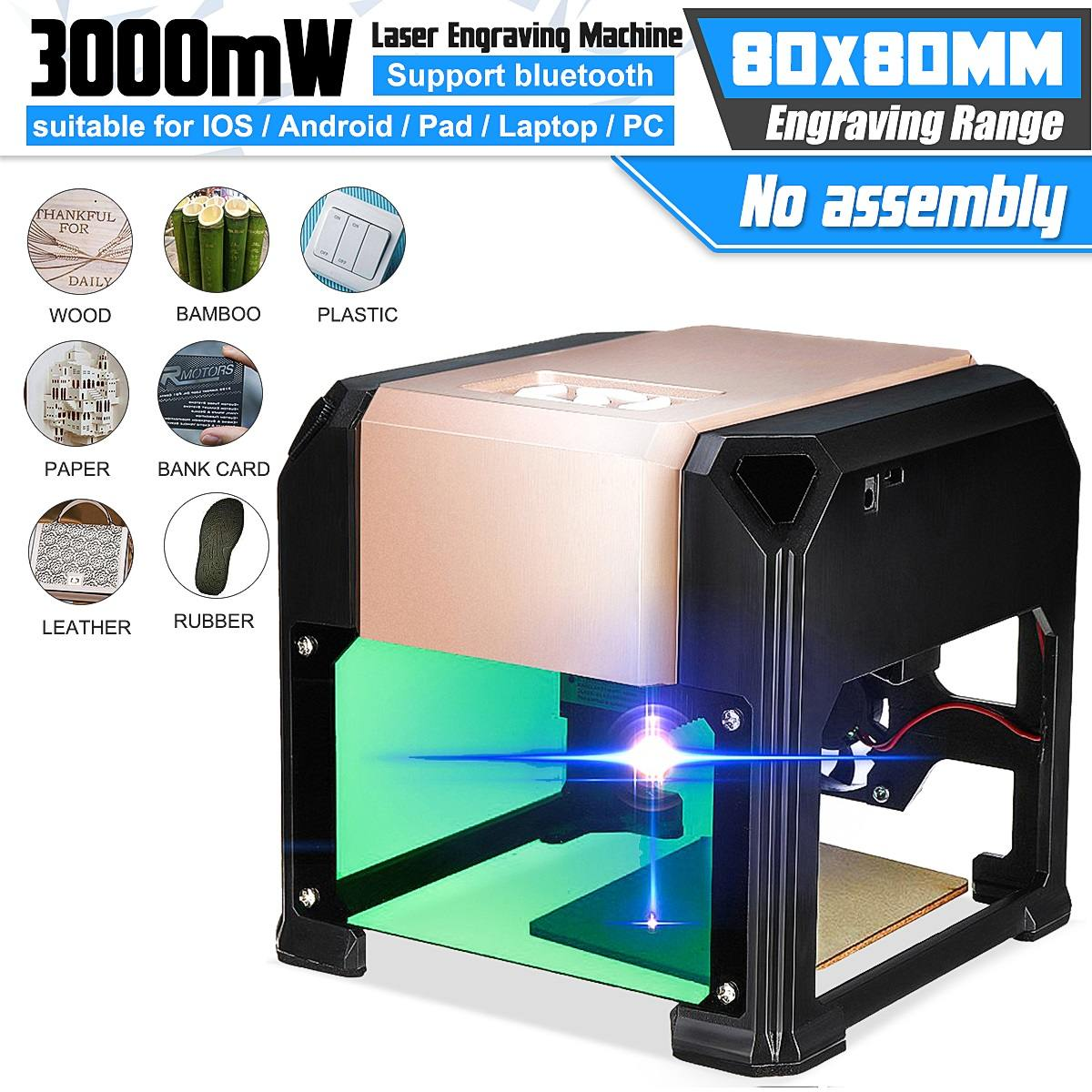 New Upgrade Bluetooth 3000MW Golden CNC Laser Engraving Machine AC 110-220V DIY Engraver Desktop Wood Router/Cutter/Printer