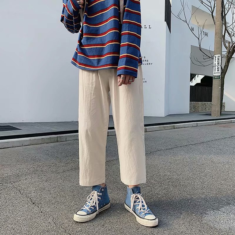 Harajuku Summer Solid Color Ulzzang Casual Pants Loose Versatile Capri Pants Korean-style Retro Straight-Cut Loose Pants Men's