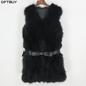 Image 1 - OFTBUY 2020 Winter Jacket Women Black Real Natural Fox Fur Vest Coat New Luxury Female Warm Thick Slim Waistcoat Belt Streetwear
