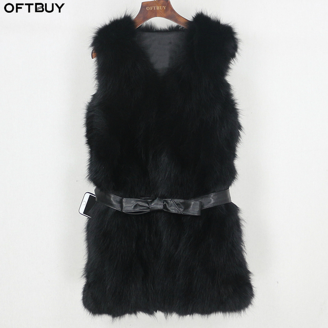 OFTBUY 2020 Winter Jacket Women Black Real Natural Fox Fur Vest Coat New Luxury Female Warm Thick Slim Waistcoat Belt Streetwear