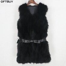 Женский утепленный жилет с поясом OFTBUY, черная утолщенная приталенная безрукавка из натурального лисьего меха, зима 2020