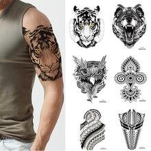 1 PIECE Temporary Tattoo Tiger 3D Realistic Waterproof Transfer Mens Womens